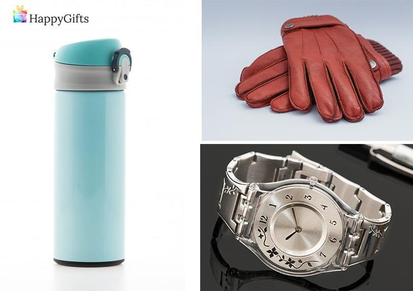 подаръци за тъюа бизнес дама; термо чаша, кожени ръкавици, часовник