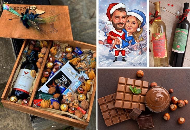 оригинални коледни подаръци; коледна кошница, коледна карикатура, вино, шоколад