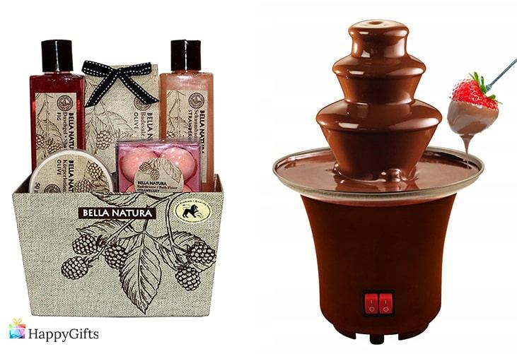 подаръци за коледа и нова година; козметичен комплект, шоколадов фонтан