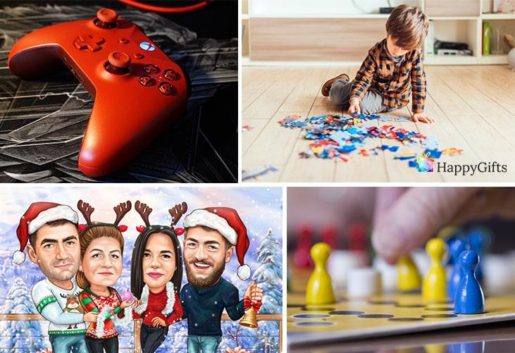забавен коледен подарък, конзола, пъзел, зимна карикатура, настолна игра