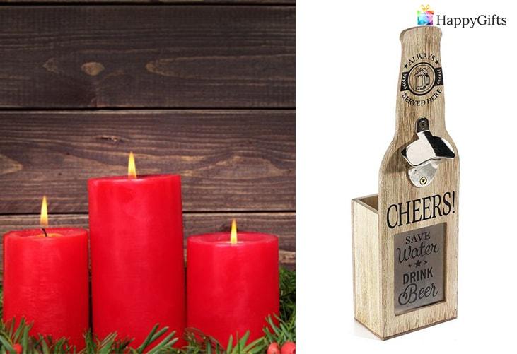 евтини коледни подаръци за баща; свещи, отварачка за бира