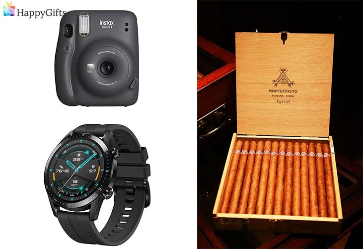 интересни коледни подаръци за любимия; инстант камера, часовник, кутия с пури