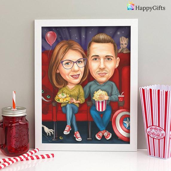 сантиментален коледен подарък за любимия; карикатура за двойка