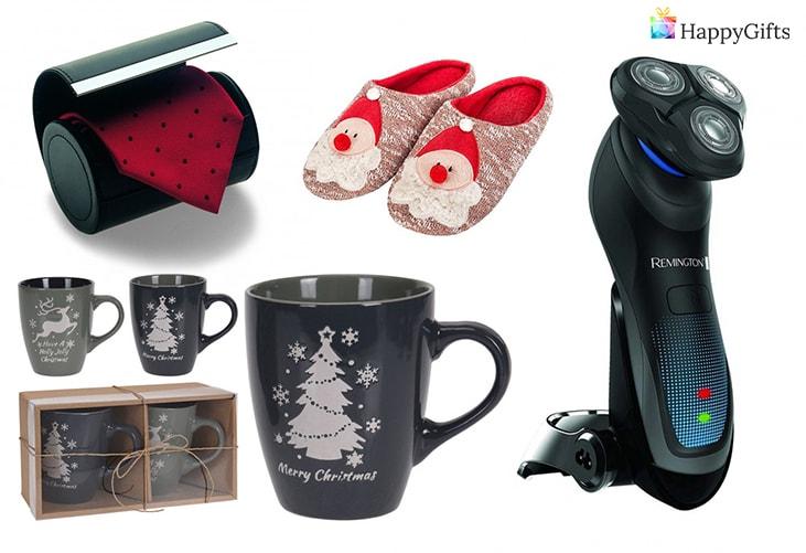 коледен подарък за деня на татко; вратовръзка, домашни чехли, коледна чаша, електрическа самобръсначка