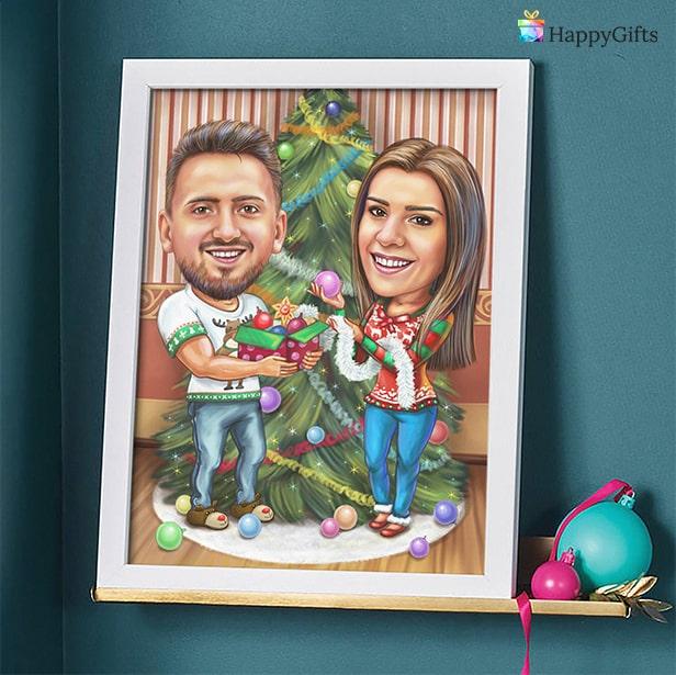 Коледна карикатура за двойка
