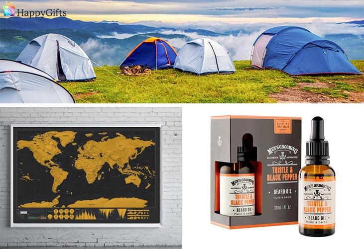 оригинален коледен подарък, в който любимия ще се влюби; палатка; скреч карта на света, комплект за брада