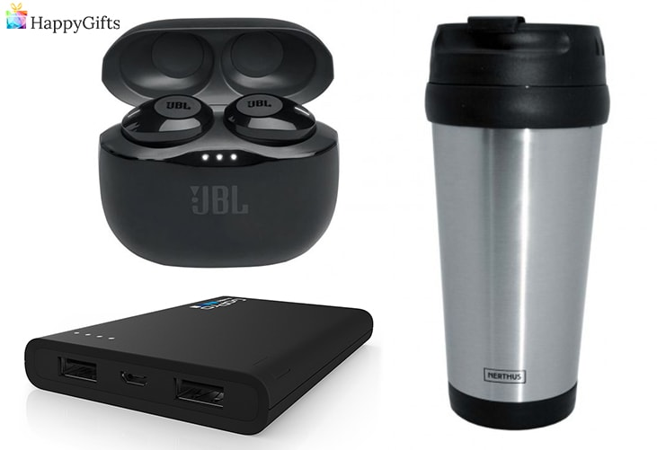 практични коледни подаръци за любимия човек; безжични слушалки, преносимо зарядно, термо чаша