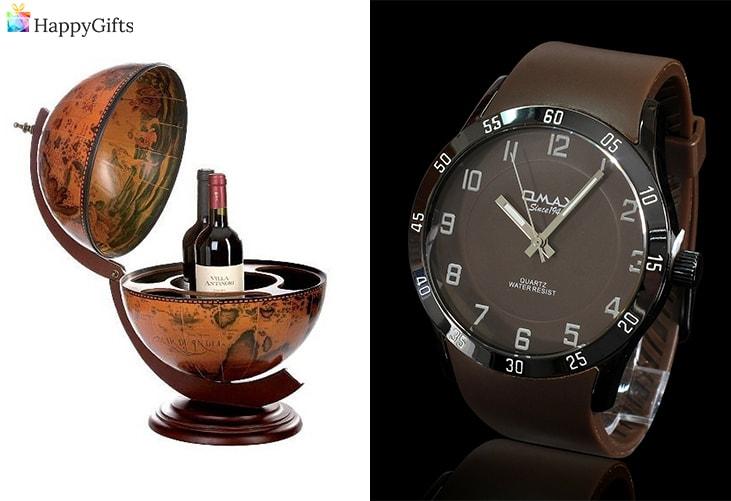 стилни коледни подаръци за бащите с вкус; глобус бар, часовник