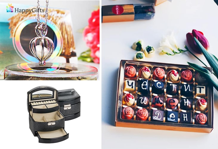 Идеи подходящи за момиче; идеи подходящи за момиче; перла, шоколадови бонбони, кутия за бужута