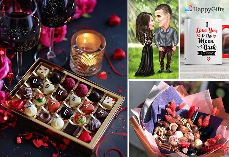"""Идеи за подаръци за влюбени; бонбони """"обичам те"""", карикатура за влюбени, чаша с послание, шоколадови бонбони"""