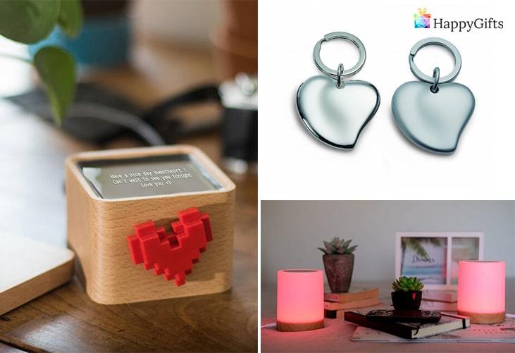 изненада за свети валентин от разстояние; дигитална кутия за писма, ключодържатели сърца, цветни лампи