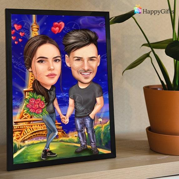 карикатура за двойка влюбени, подарък за свети валентин