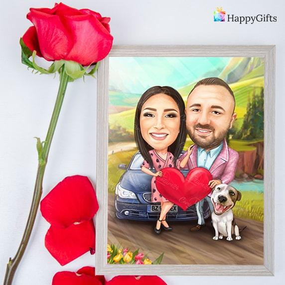 карикатура подарък за влюбени, изненада за свети валентин