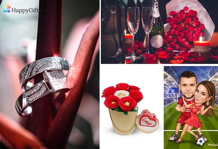Любовни подаръци; пръстен, романтична вечеря, букет от бонбони, романтична карикатура