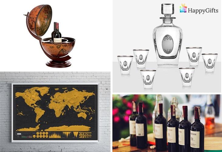 Най-купуваните подаръци за Ивановден; глобус бар, чаши, скреч карта на света, бутилка вино
