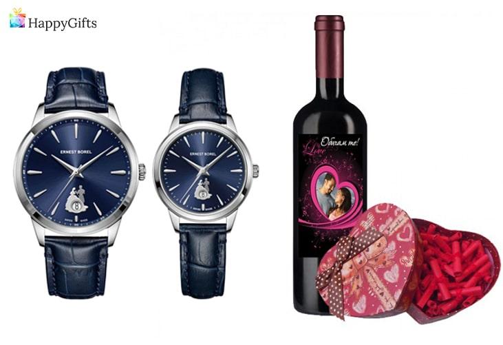 оригинални подаръци за 14 февруари; часовник, бутилка алкохол с персонализиран етикет