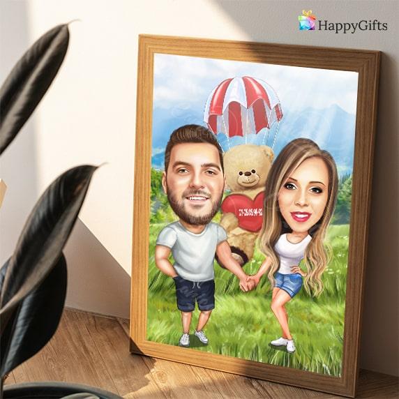 карикатура за влюбени подарък за свети валентин