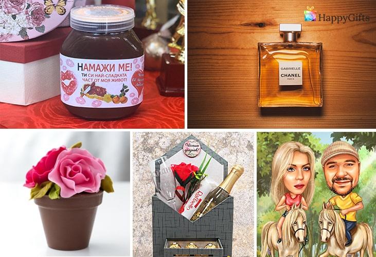 Първи подарък за гаджето за Свети Валентин; течен шоколад с персонализиран етикет, парфюм, шоколадова роза, подаръчна кутия, карикатура за двама