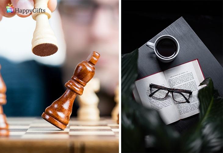 Подаръци подходящи за възрастен мъж; шах, книга