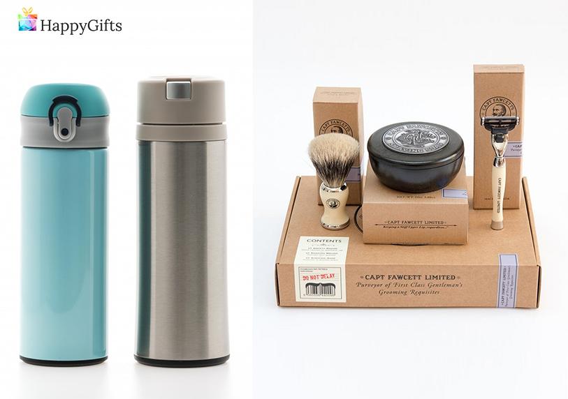 Подаръци за мъже на 60 години; термос, комплект за бръснене