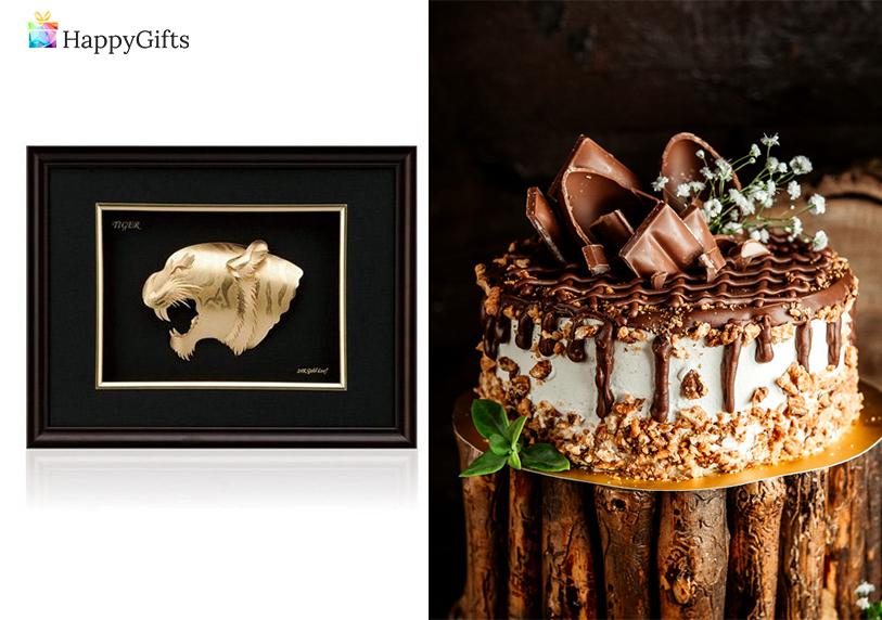 Подарък за 60 годишен юбилей; златна картина, торта