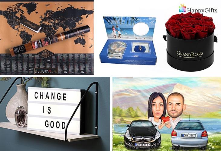 Подарък за Свети Валентин за гадже от скоро; скреч карта, колие с перла, вечни рози, табло за съобщения, карикатура за двама