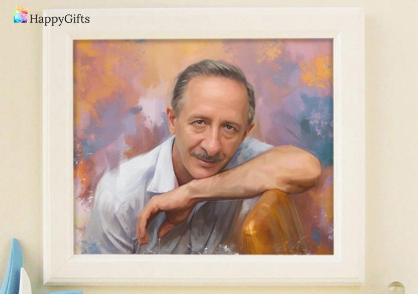 Класически подаръци за 60 годишен юбилей за мъж; портрет по снимка на рожденика