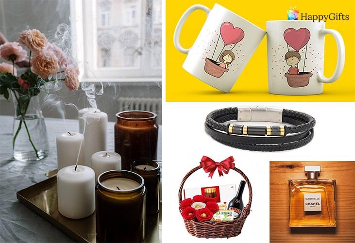 Романтичен подарък за момче; ароматни свещи, чаши за двойка, кожена гривна, подаръчна кошница, парфюм
