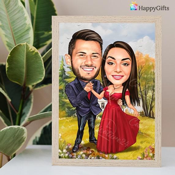 Романтичен подарък за момче; карикатура за двойка