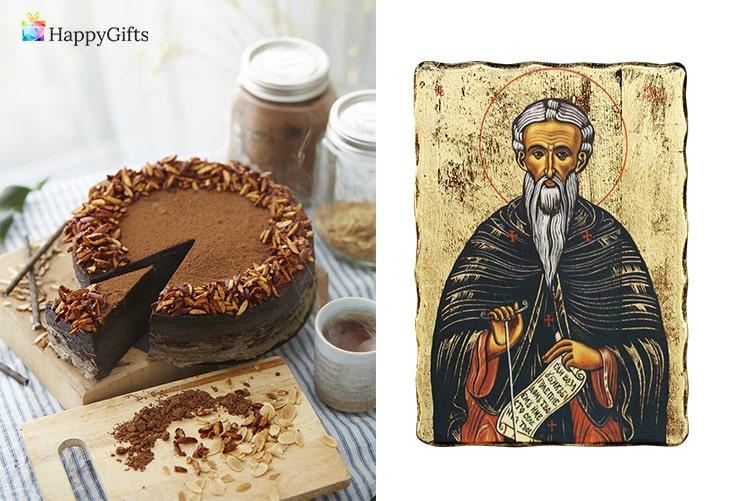 Семеен подарък за именик; торта, икона