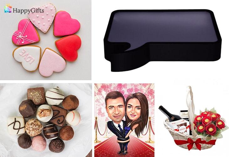 сладки подаръци за свети валентин; бисквитки сърца, шоколадови бонбони, табло за писане, романтична карикатура, подаръчна кошница