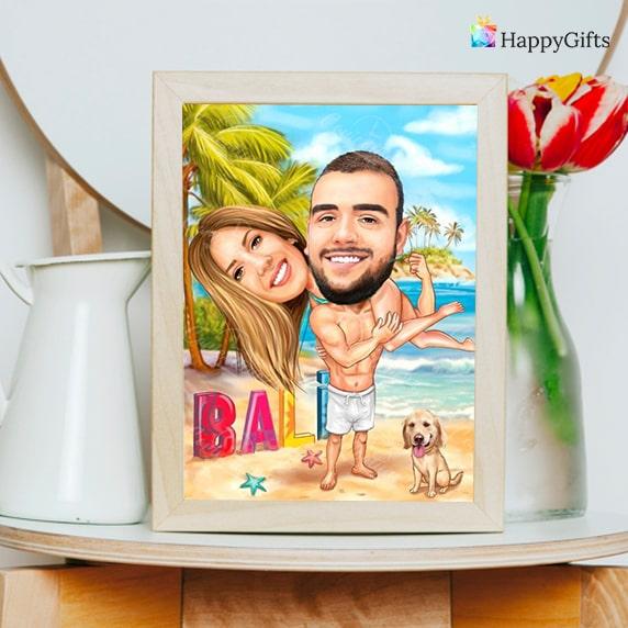забавен шарж по снимка за влюбена двойка