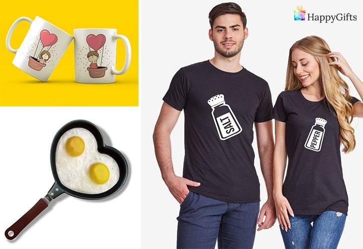 Забавни подаръци; чаши за двойки, тиган сурце, тениски за двойки
