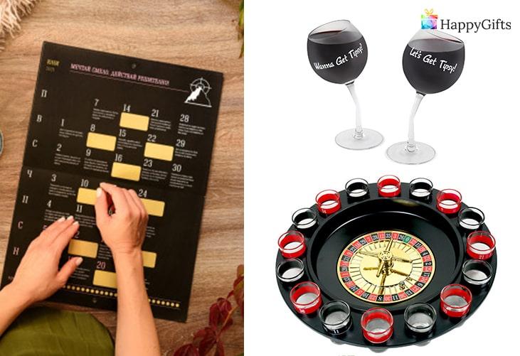 Забавни подаръци за шегаджии; календар с предизвикателства, чаши за вино, рулетка