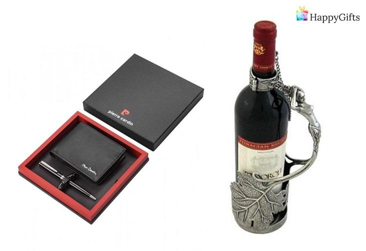 Подарък за мъжа ви; портфейл, стойка за вино