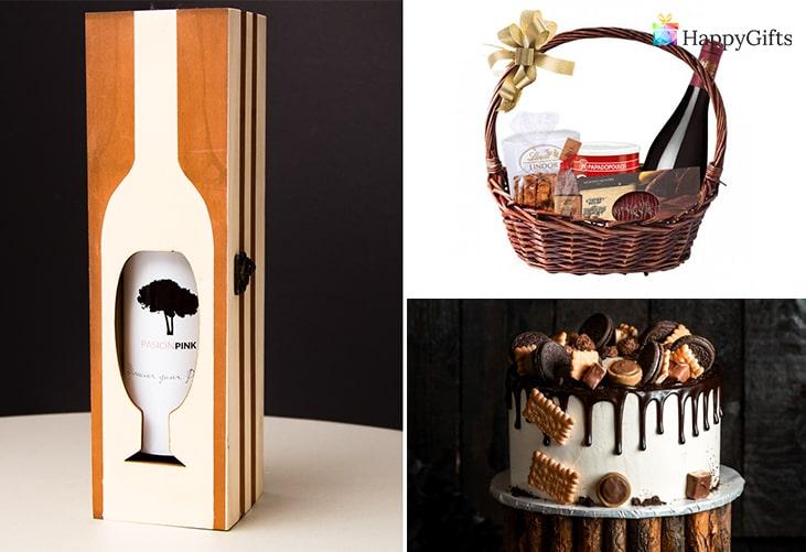 Подходящи подаръци за Йордановден; бутилка вино, подаръчна кошница, торта